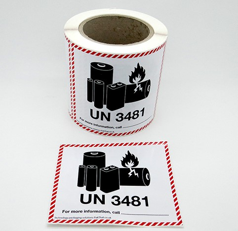 UN 3481 Lithium Ion Battery Labels
